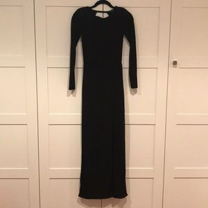 Topshop long sleeve maxi dress with front slit